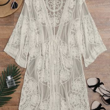 2018 New Embroidered Sheer Swimsuit Bathing Suit Cover Up See-Through Lace Cover Up Women Cover Up De Plage Beach Cardigan