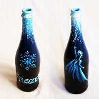 Hand Painted Disney Inspired Up-Cycled Champagne Bottles: Frozen, Let It Go