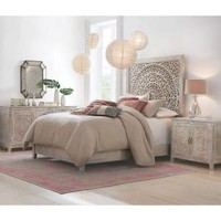 Home Decorators Collection Chennai White Wash Queen Platform Bed 9467800410 at The Home Depot - Mobile
