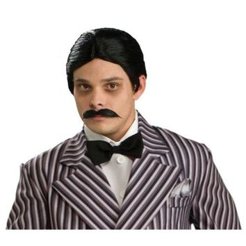 Gomez Addams Family Wig & Moustache Adult Mens Black Halloween Costume Accessory