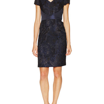 Theia Women's Short Sleeve Open Back Cocktail Dress - Dark Blue/Navy