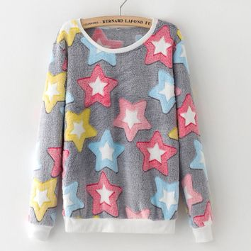 Novelty Pink Big Star Print Harajuku Sweatshirts