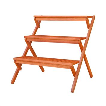 Outdoor Wood Three-Layer Plant Stand