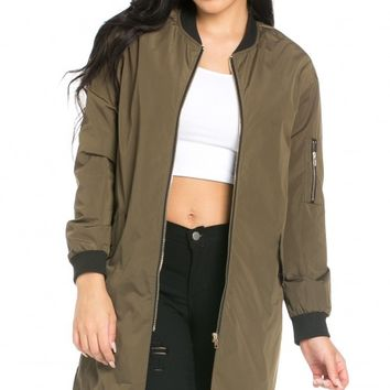 Tall Industrial Longline Bomber Jacket in Olive