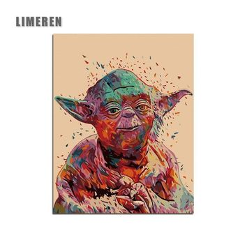 Star Wars Force Episode 1 2 3 4 5  7 Yoda Minimalist Art Canvas Painting By Numbers Movie Wall Picture Print Home Bedroom Decoration AT_72_6