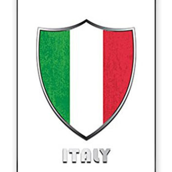 The Best Italy Italian Italia National Flag Badge Direct UV Printed iPhone 4 Quality Hard Snap On Case for iPhone 4 4S 4G - AT&T Sprint Verizon - White Case Cover