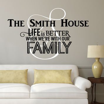 Family Name Monogram Decal - by Decor Designs Decals, Personalized Family Name Decal Monogram - Family Quotes - Vinyl Wall Decal - Family Decor Custom Family - AU16