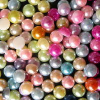 8mm Colorful Pearl Mix / Assorted Faux Pearl Cabochons Mix (Round / Half) (60pcs) PEMC8