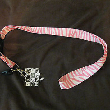 "Pink and White Zebra Print 15"" lanyard for ID Holder and/or Mobile Device-New!"