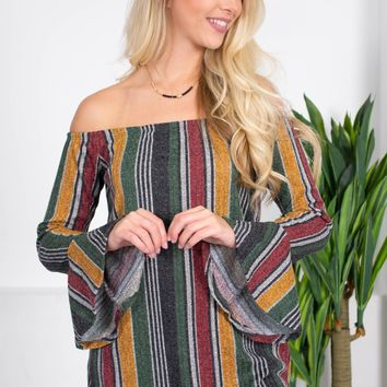 Falling Stripes Flutter Top