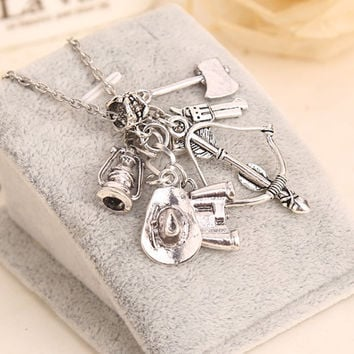 The Walking Dead Inspired Charms Silver Pendant Chain Necklace