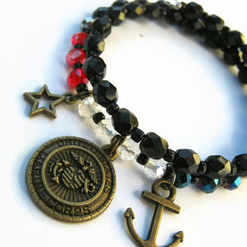 Marine Corps Charm Bracelet, Patriotic USMC Stacking Bracelet, Military Bracelet, Red White Blue Memory Bracelet, BLACK, READY To Ship