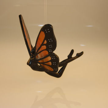 Stained Glass Hand-Painted Monarch Butterfly Flying Fairy Nymph Figurine - Made to Order