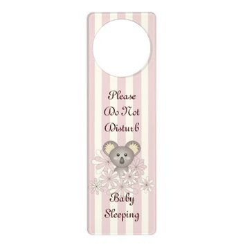 Cute Baby Koala Personalized Pastel Pink Striped Door Hanger