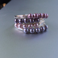 Sterling Silver Stacking Rings w Swarovski Beads Handmade Jewelry Stack Ring