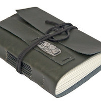 Dark Green Faux Leather Journal with Bookmark