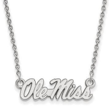 NCAA 14k White Gold U of Mississippi Ole Miss Script Pendant Necklace
