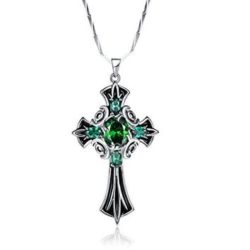 SHIP BY USPS Merthus 925 Sterling Silver Vintage Created Emerald Celtic Cross Necklace for Women