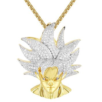 Mens Bling Goku Vegeta Character Charm Gold Finish Pendant