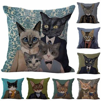 Modern Cartoon Cat Printed Cotton Pillow Cases For Home