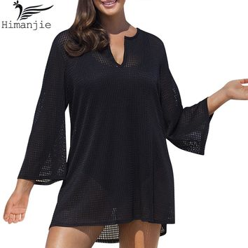 Plus Size Pareo Beach Cover Up 2017 Sexy Swimwear Women Long Sleeve Blouse Mesh Beach Wear Bathing Suit Cover Ups Swimsuit Tunic