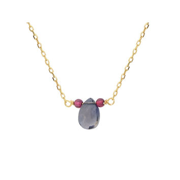 Fronay Collection 18k Gold Pl Silver Briolette Sapphire & Mini Garnet Necklace, 16""