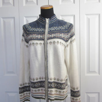 Vintage Fair Isle Cardigan Sweater Ramie Cotton Knit Zipper Cardigan White Grey Tan Fair Isle Sweater Womens Medium