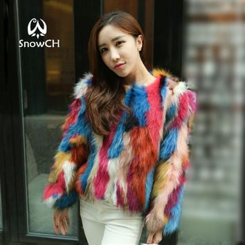 Free shipping 2017 new Genuine raccoon Fur Coat women colorful fur raccoon Fur Jacket three quarter customized big size F883