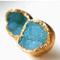 30% OFF SALE Green druzy stud earrings, 18k gold dipped