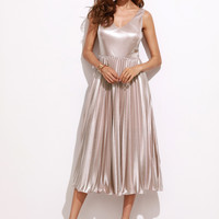 Metallic Pink Double V Neck Pleated Dress | MakeMeChic.COM