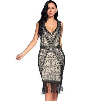 Vintage 1920s Dress Sequin Beaded Fringed Hem Flapper Cocktail Dress