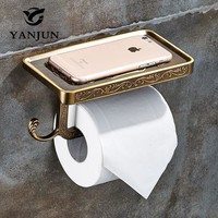 Yanjun Paper Towel Dispenser WC Roll Paper Rack With Shelf Wall Mounted And Hook Accessories For Bathroom YJ-8801