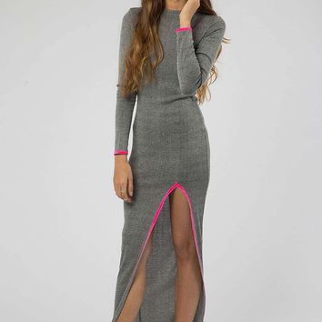 **Grey Maxi Dress with Neon Pink split detail by Jaded London