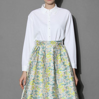 Tiered Collar Crepe Shirt in White  White S/M