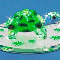 "Glass Baron 2.5"" Turtle w/ Swarovski Elements & Mirror Base"