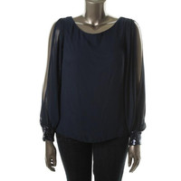 Xscape Womens Sequined Chiffon Blouse