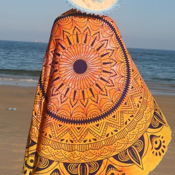 Casual Boho Printed Beach Shawl
