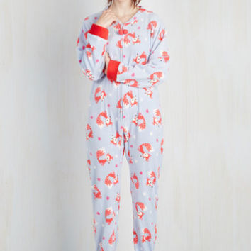Dorm Decor Long Sleeve Fauna Friend One-Piece Pajamas in Foxes