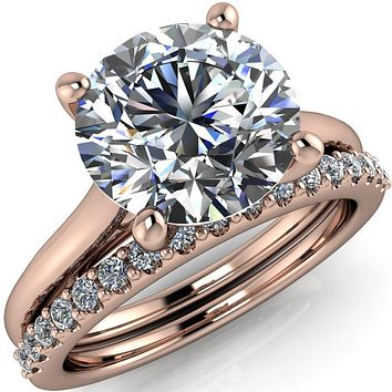 Willie Round Moissanite Bow Under Cathedral Engagement Ring