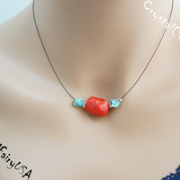 Red coral choker necklace red stone blue turquoise stone neckalce coral pendant necklace coral turquoise choker coral healing yoga neckalce