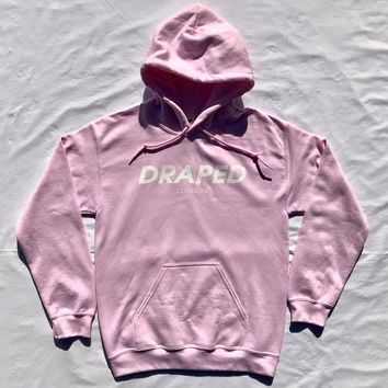 """Draped """"Fast Lane"""" pink hoodie- with white print unisex (normal adult fit)"""