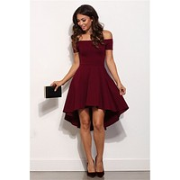 Off Shoulder Party Dress (Blue, Black, Wine)