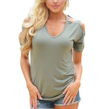 Chicloth Olive Cold Shoulder Ruched Sides T-shirt