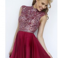 Sherri Hill 1979 Ruby/Red Dress: Short/Knee Length, High Neck