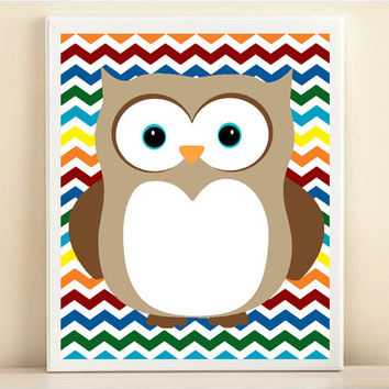 Nursery Chevron Owl Art Print: Rainbow Baby Neutral Nursery Wall Decor - Customize To Your Colors 8x10