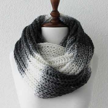 Chunky Cowl White and Gray Infinity Scarf Loop Scarf Neckwarmer Cowl Scarf Soft and Lightweight