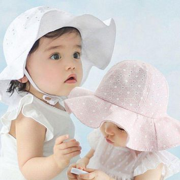 CUPUP9G Infant Toddler Visor Cotton Sun Cap Floral Print Summer Outdoor Baby Girls Pink White Beach Bucket Hats 07