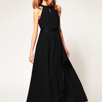 Chiffon Halter Sheath A-line Ruffled Maxi Dress with Belt