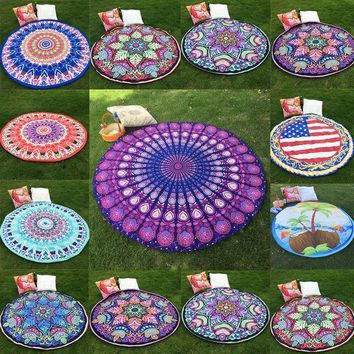 New Round Indian Mandala Hippie Boho Tapestry Wall Hanging Tapestries Shawl Beach Throw Towel Yoga Mat Tablecloth Home Decor