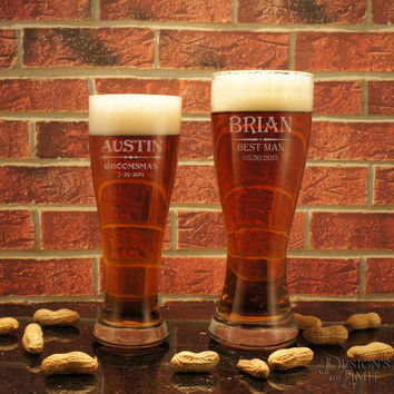 Design's Personalized Pilsner Glass with Engraved Groomsmen Monogram Designs & Font Selection (Each)